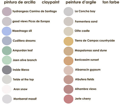 Carta de colores de la pintura ecológica de arcilla ecoclay