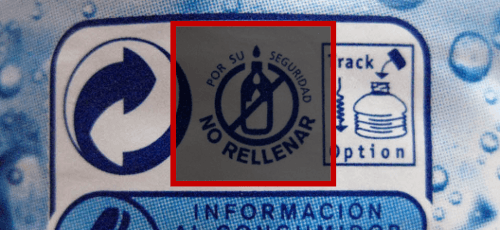 Advertencia de no rellenar botella de agua