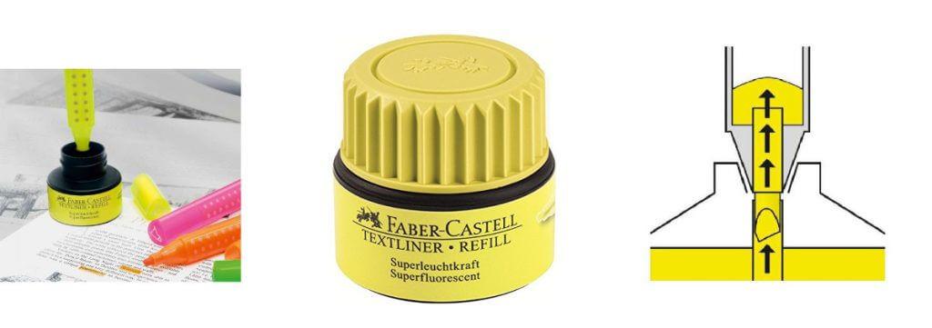 Tinta para rellenar marcadores fluorescentes Faber-Castell