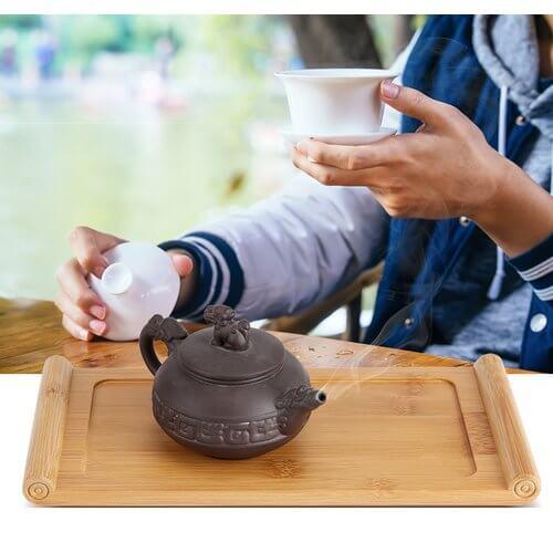 Bandeja de bambú para servir té y tetera