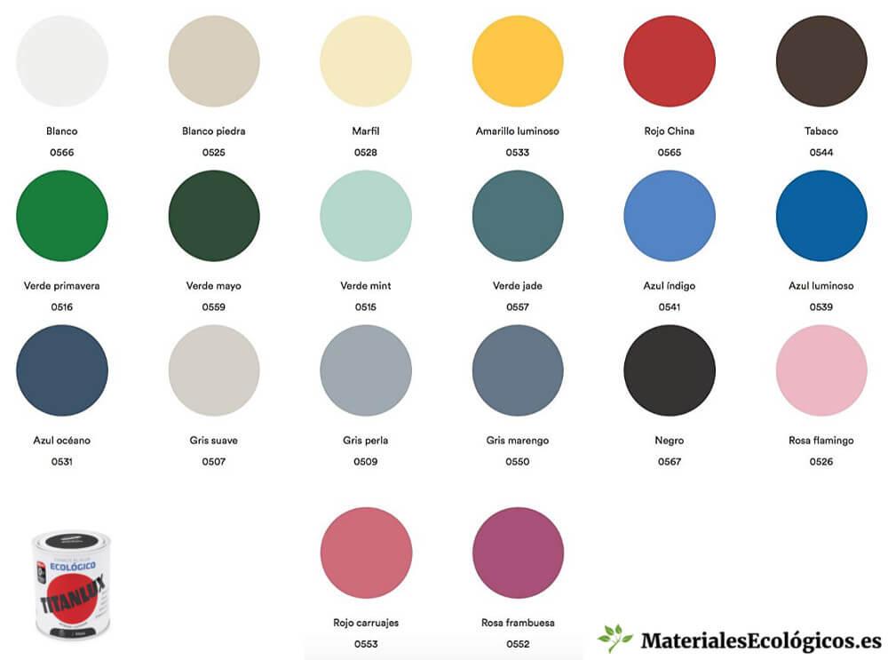 Carta colores esmalte Titanlux ecológico