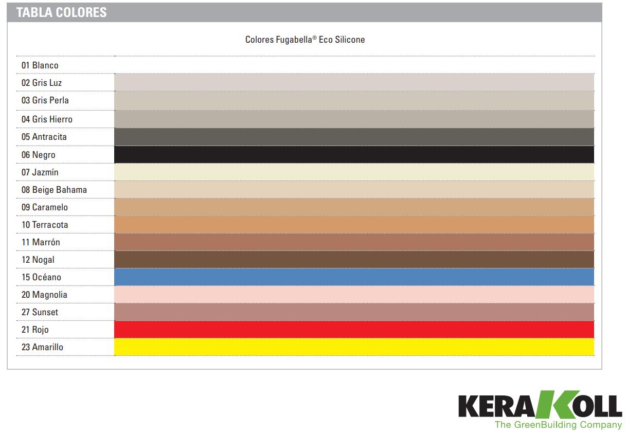 Carta de colores Kerakoll Fugabella