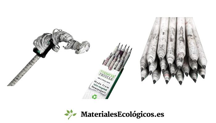 lápices reciclados de periódico