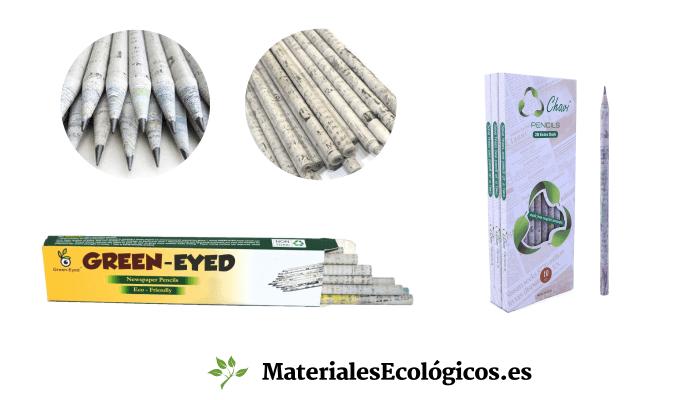 Lápices papel periodico reciclado