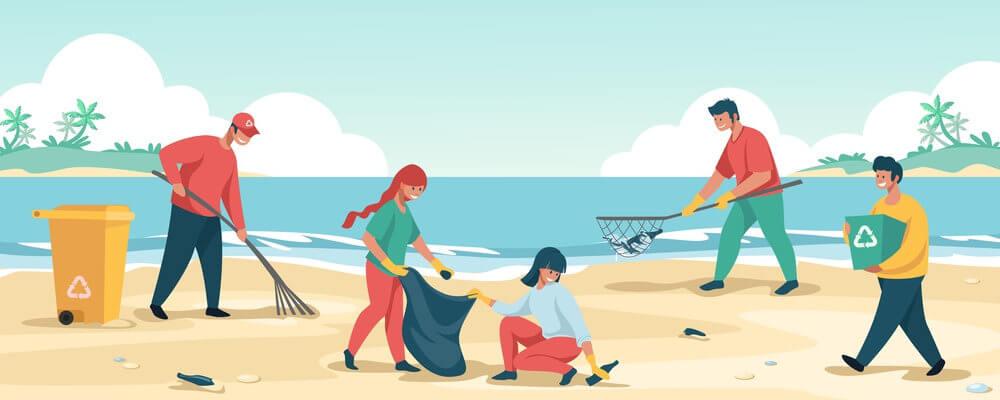 reciclaje basura playa