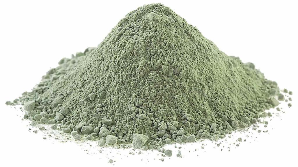 Arcilla verde en polvo