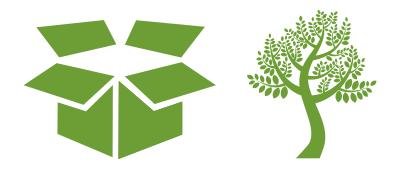 caja de cartón y árbol representando regalos ecológicos y sostenibles